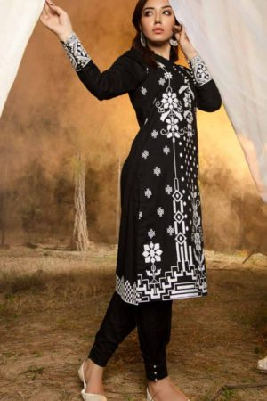 Adan Libas Muzayyan Full Embroidered Jacquard Lawn Black Kurti Collection 14