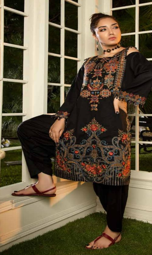 Adan Libas Muzayyan Full Embroidered Jacquard Lawn Black Kurti Collection 15
