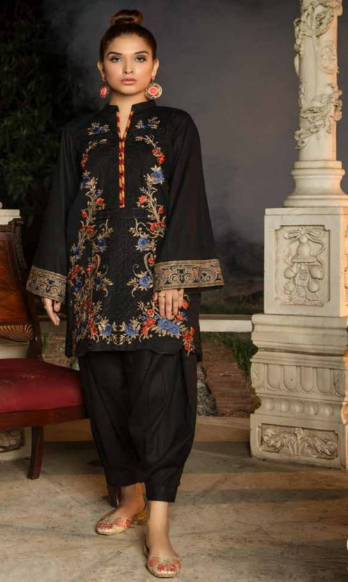 Adan Libas Muzayyan Full Embroidered Jacquard Lawn Black Kurti Collection 19