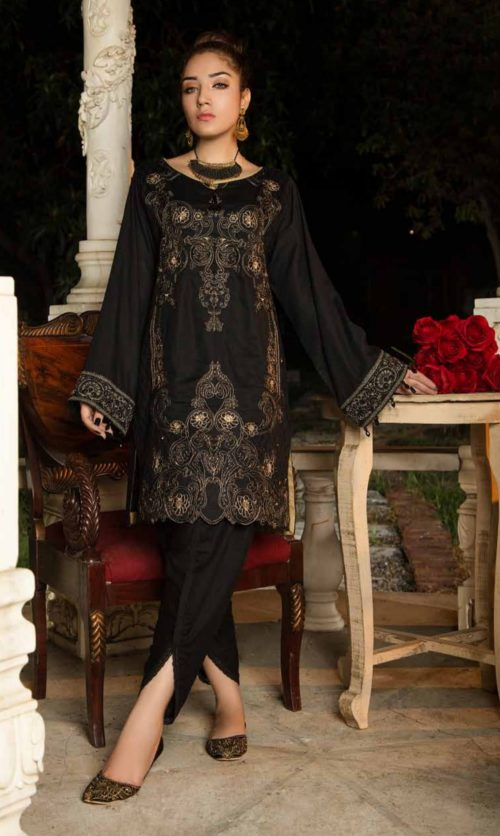 Adan Libas Muzayyan Full Embroidered Jacquard Lawn Black Kurti Collection 20