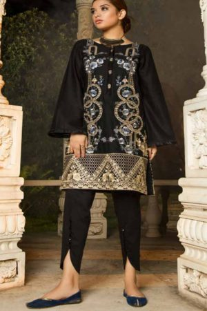 Adan Libas Muzayyan Full Embroidered Jacquard Lawn Black Kurtis Collection 08