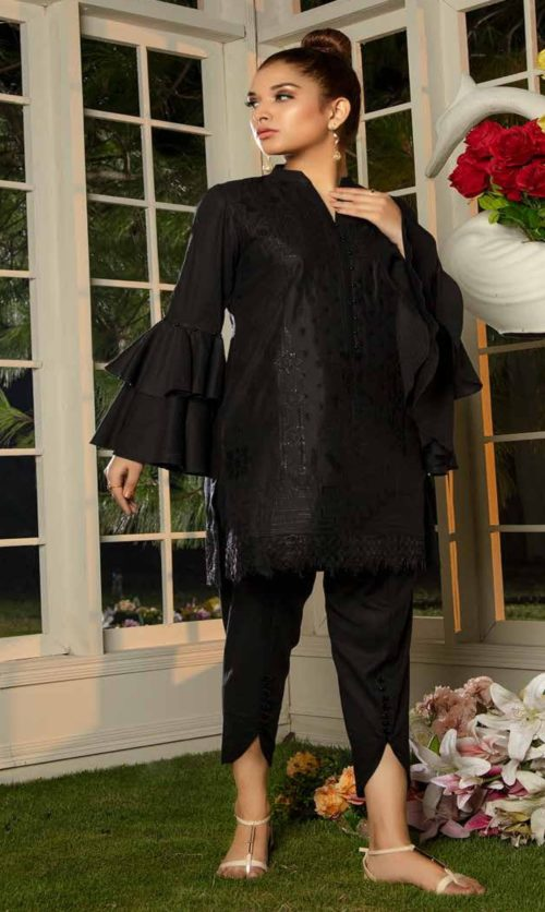 Adan Libas Muzayyan Full Embroidered Jacquard Lawn Black Kurtis Collection 10