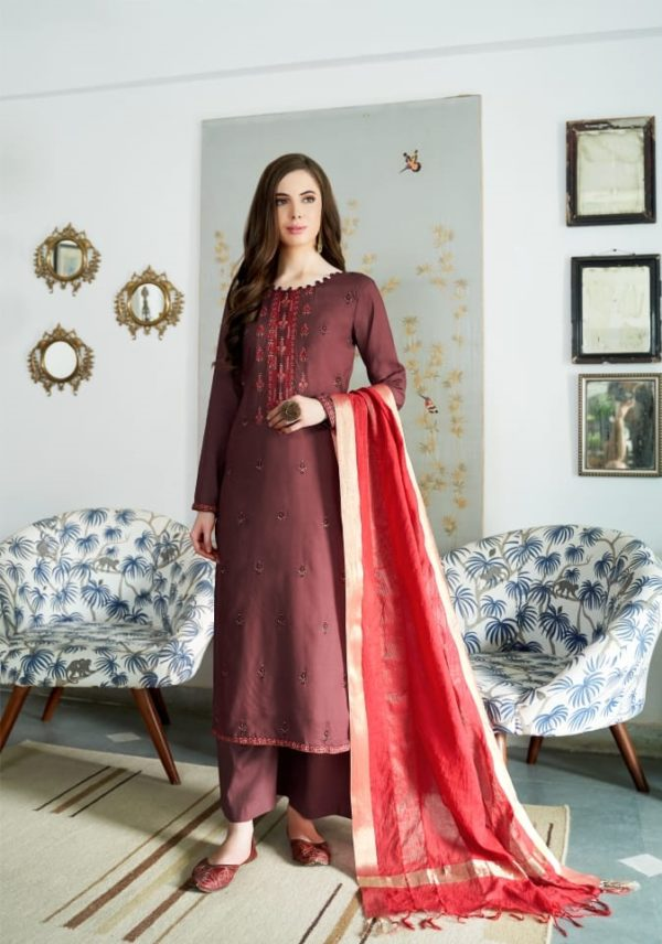 Bela Fashion Presents Jasba Viscose Muslin Embroidery Work Salwar Suit 810