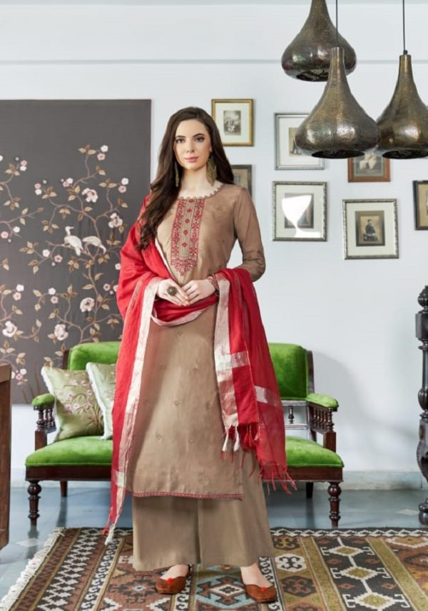 Bela Fashion Presents Jasba Viscose Muslin Embroidery Work Salwar Suit 813