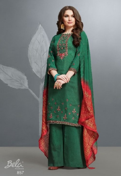 Bela Presents Resham Cotton Silk With Embroidery Unstitched Salwar Suits 857