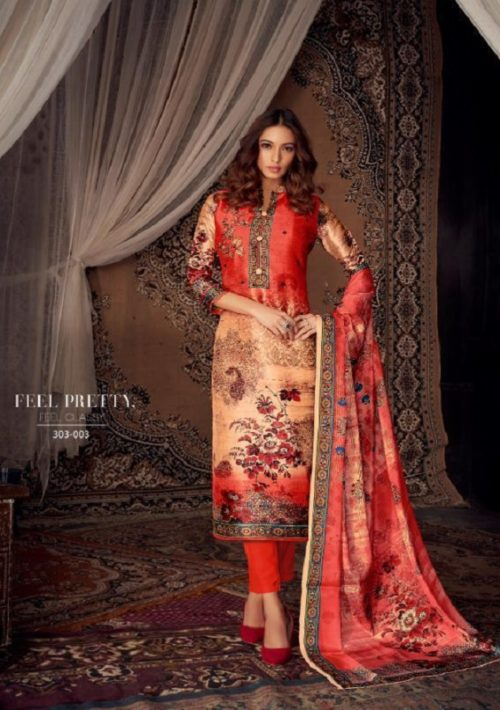 Belliza Designer Studio Moroccan Silk Pure Silk With Fancy Heavy Embroidery Salwar Suit 303-003