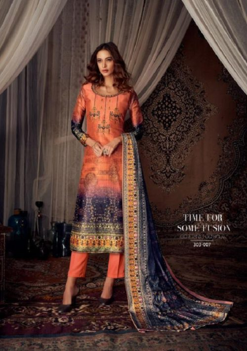 Belliza Designer Studio Moroccan Silk Pure Silk With Fancy Heavy Embroidery Salwar Suit 303-007