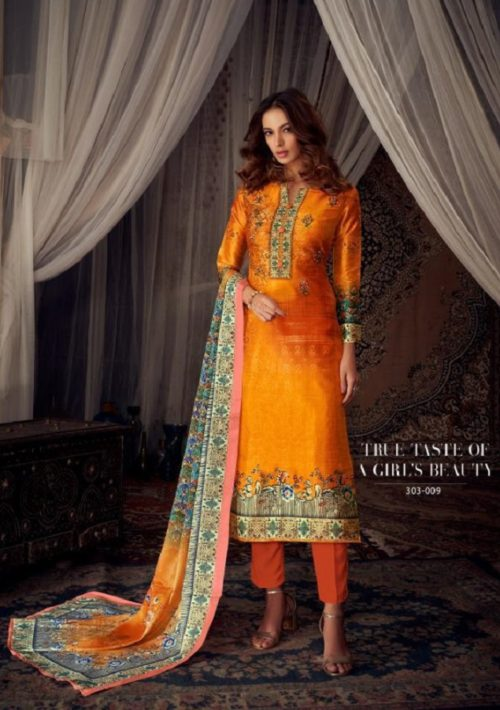 Belliza Designer Studio Moroccan Silk Pure Silk With Fancy Heavy Embroidery Salwar Suit 303-009