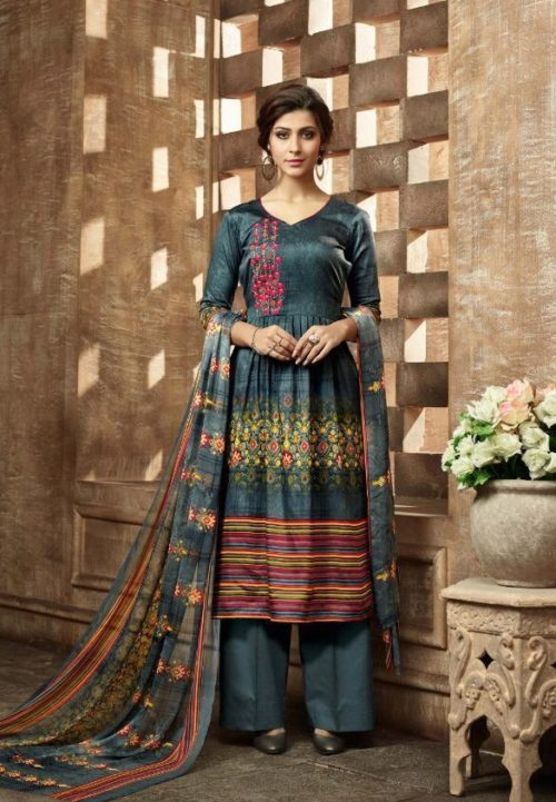 Buy Belliza Designer Studio Olivia Pure Pashmina Digital Style Printed With Fancy Embroidery Work Salwar Suit For Winters 331-001