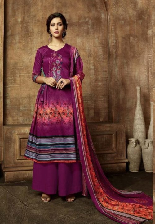 Buy Belliza Designer Studio Olivia Pure Pashmina Digital Style Printed With Fancy Embroidery Work Salwar Suit For Winters 331-002