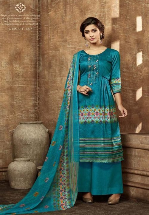 Buy Belliza Designer Studio Olivia Pure Pashmina Digital Style Printed With Fancy Embroidery Work Salwar Suit For Winters 331-007