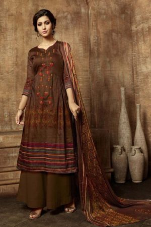 Buy Belliza Designer Studio Olivia Pure Pashmina Digital Style Printed With Fancy Embroidery Work Salwar Suit For Winters 331-009