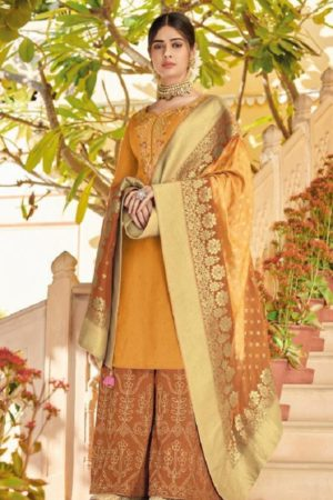 Buy Kimora 7 Pure Dola Silk With Embroidery and Stone Work Suits K-706
