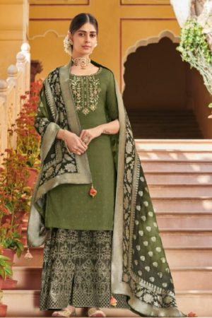 Buy Kimora 7 Pure Dola Silk With Embroidery and Stone Work Suits K-708