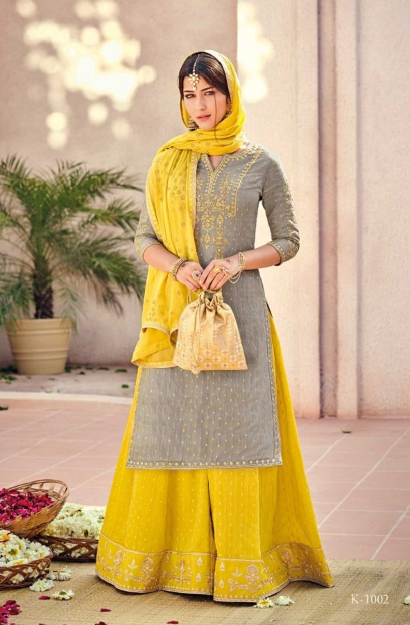 Buy Kimora Vol 10 Pure Silk Banarasi Buti With Embroidery Salwar Suit K-1002
