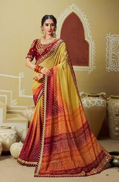 Kessi Fabrics Presents Bandhej 11 Georgette Jari Thread Embroidery Work Foil Print Saree 3331