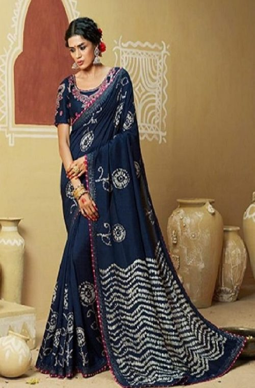 Kessi Fabrics Presents Bandhej 11 Georgette Jari Thread Embroidery Work Foil Print Saree 3333
