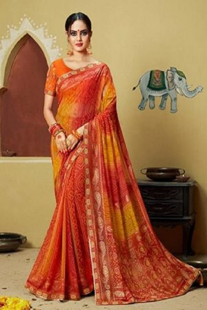 Kessi Fabrics Presents Bandhej 11 Georgette Jari Thread Embroidery Work Foil Print Saree 3335