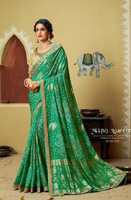 Kessi Fabrics Presents Bandhej 11 Georgette Jari Thread Embroidery Work Foil Print Saree 3336