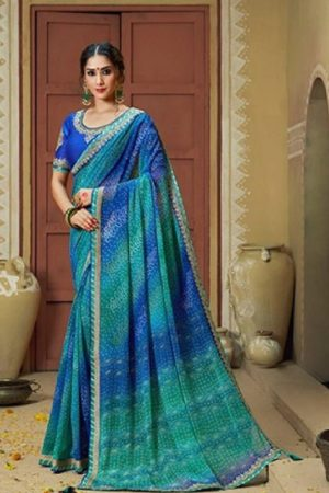 Kessi Fabrics Presents Bandhej 11 Georgette Jari Thread Embroidery Work Foil Print Saree 3337