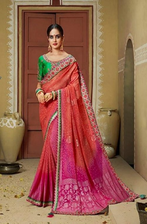 Kessi Fabrics Presents Bandhej 11 Georgette Jari Thread Embroidery Work Foil Print Saree 3338