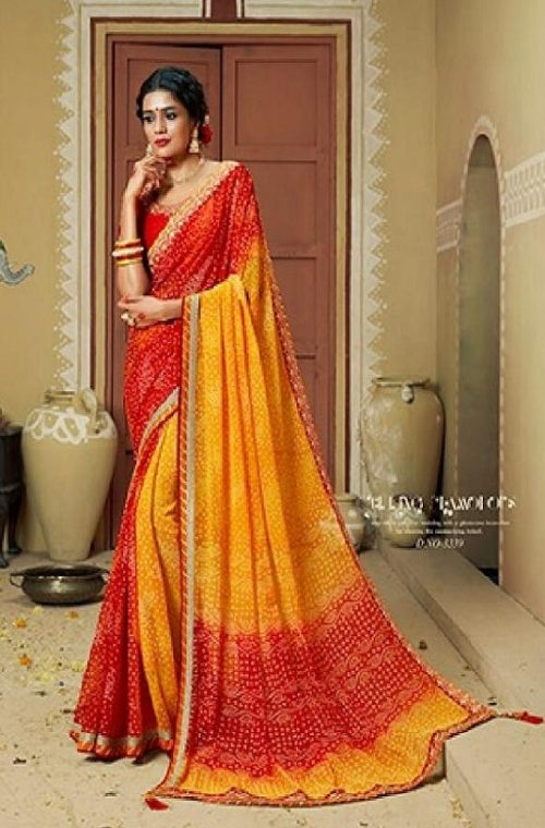 Kessi Fabrics Presents Bandhej 11 Georgette Jari Thread Embroidery Work Foil Print Saree 3339
