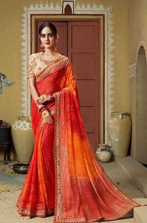 Kessi Fabrics Presents Bandhej 11 Georgette Jari Thread Embroidery Work Foil Print Saree 3340
