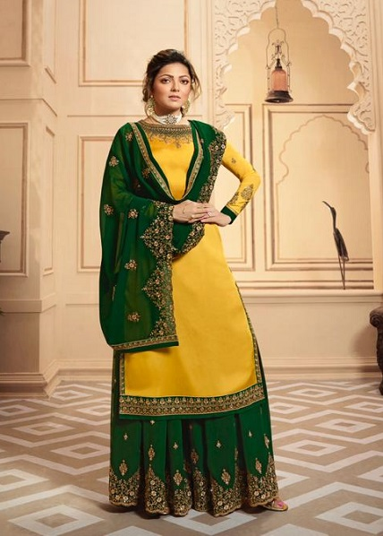LT Fabrics Nitya 142 Georgette Satin With Embroidery And Work Sharara Suit 4202