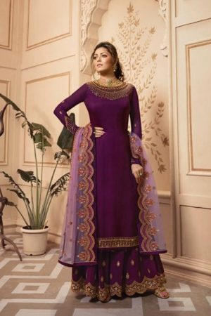 LT Fabrics Nitya 142 Georgette Satin With Embroidery And Work Sharara Suit 4203