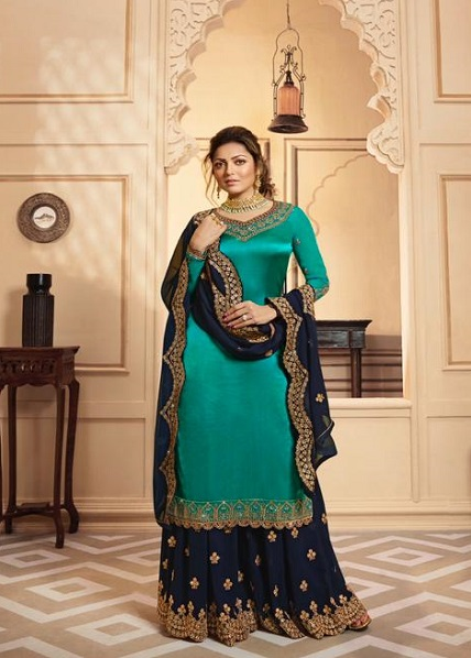 LT Fabrics Nitya 142 Georgette Satin With Embroidery And Work Sharara Suit 4204