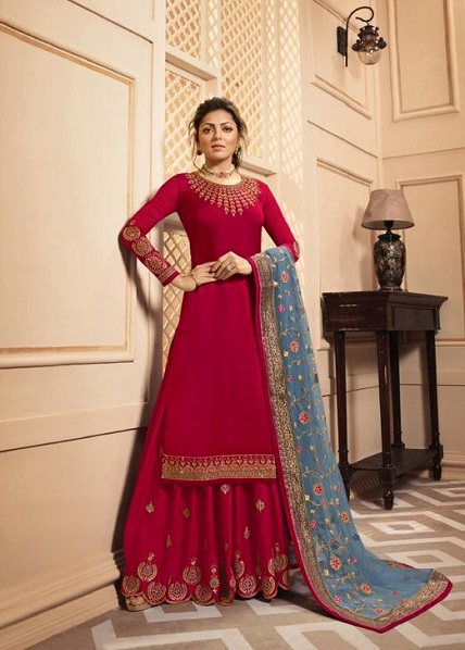 LT Fabrics Nitya 142 Georgette Satin With Embroidery And Work Sharara Suit 4206