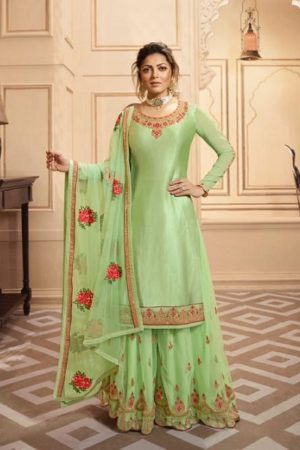 LT Fabrics Nitya 142 Georgette Satin With Embroidery And Work Sharara Suit 4208