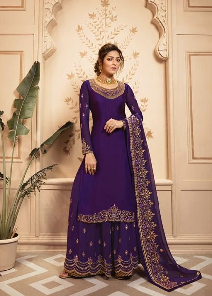 LT Fabrics Nitya 142 Georgette Satin With Embroidery And Work Sharara Suit 4209