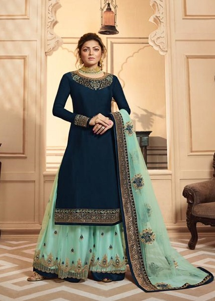 LT Fabrics Nitya 142 Georgette Satin With Embroidery And Work Sharara Suits 4201