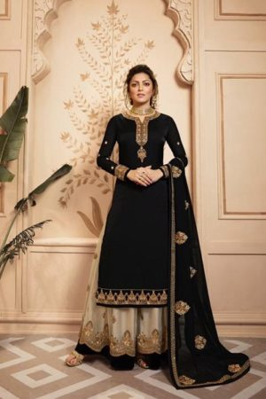 LT Fabrics Nitya 142 Georgette Satin With Embroidery And Work Sharara Suits 4207