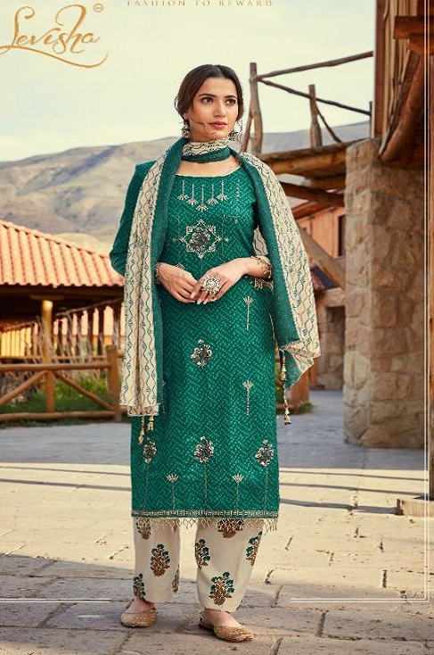 Levisha Presents Fanah Pure Pashmina Printed With Fancy Self Embroidery Work Winter Salwar Suit 3719