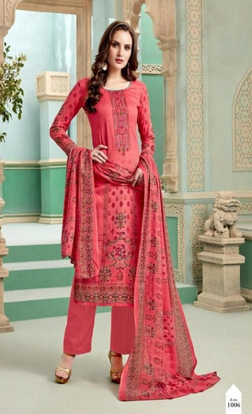 Levisha Presents Minaaz Satin Cotton Print With Self Embroidery Salwar Suit 1006