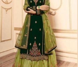 Lt Fabrics Nitya Vol 145 Georgette With Embroidery Work Designer Suit With Lehnga and Churidar 45009