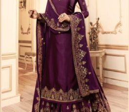 Lt Fabrics Nitya Vol 145 Georgette Satin With Embroidery Work Designer Suit With Lehnga and Churidar 45005