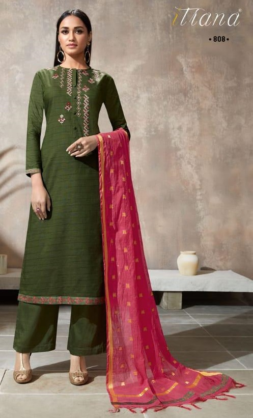 Sahiba Itrana Presents Iternal Path Pure Chex With Embroidery Salwar Suit 808