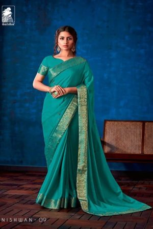 Sahiba Presents Nishwan Fancy Georgette With Fancy Lace Border Designer Saree 09