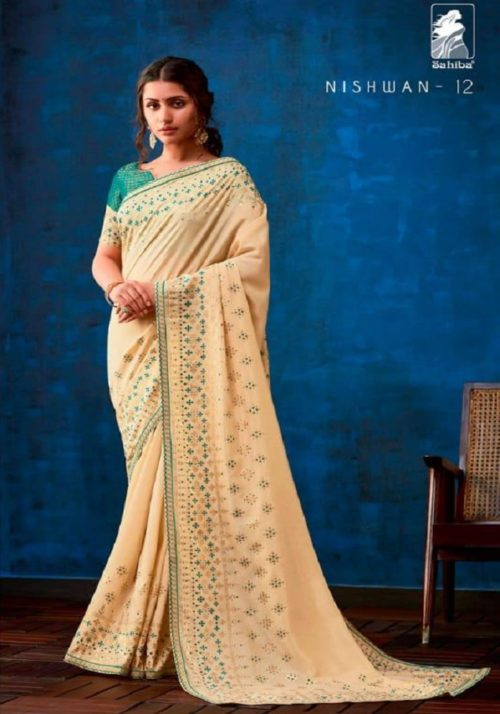 Sahiba Presents Nishwan Fancy Georgette With Fancy Lace Border Designer Saree 12