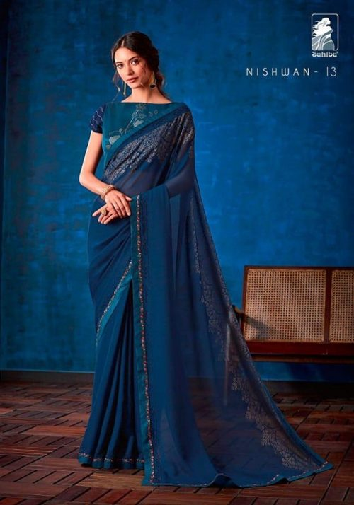 Sahiba Presents Nishwan Fancy Georgette With Fancy Lace Border Designer Saree 13