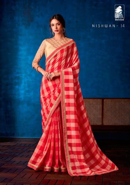 Sahiba Presents Nishwan Fancy Georgette With Fancy Lace Border Designer Saree 14