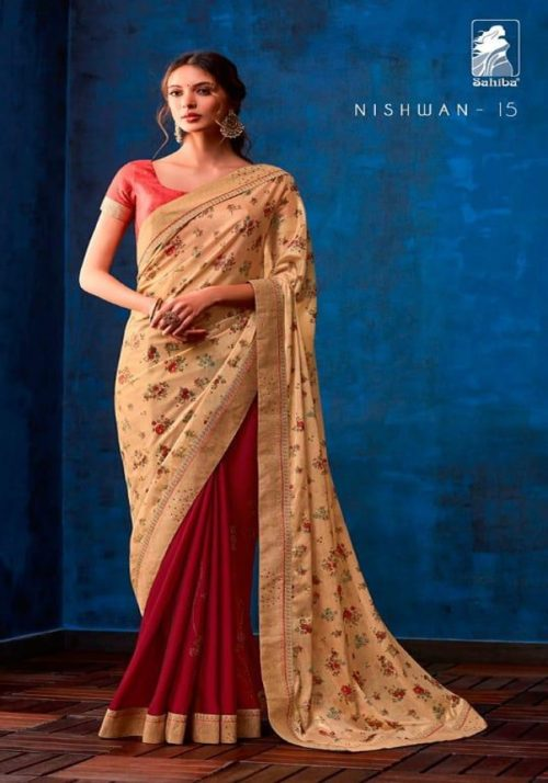 Sahiba Presents Nishwan Fancy Georgette With Fancy Lace Border Designer Saree 15