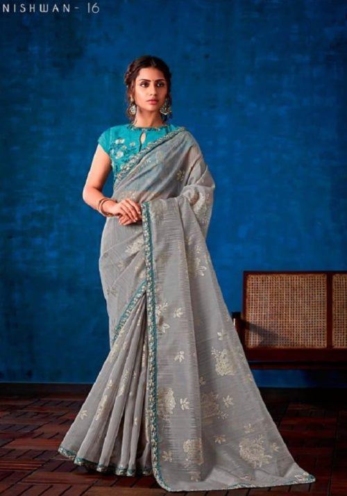 Sahiba Presents Nishwan Fancy Georgette With Fancy Lace Border Designer Saree 16