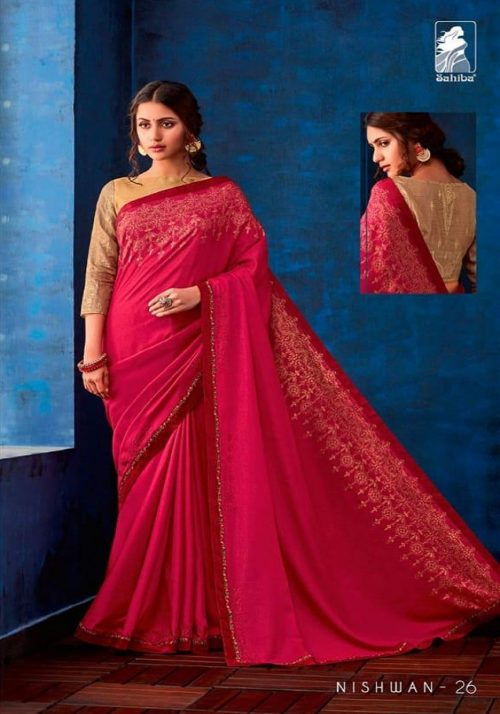 Sahiba Presents Nishwan Fancy Georgette With Fancy Lace Border Designer Saree 26