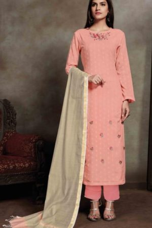 Sahiba Presents Zarah Cotton Zari Butta With Embroidery Salwar Suit 812