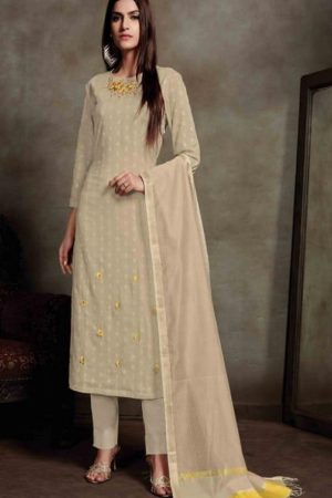 Sahiba Presents Zarah Cotton Zari Butta With Embroidery Salwar Suit 825