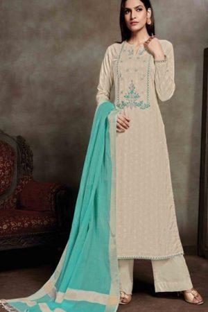 Sahiba Presents Zarah Cotton Zari Butta With Embroidery Salwar Suit 833